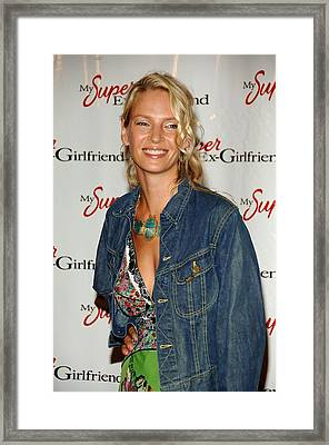Uma Thurman At Arrivals For My Super Framed Print by Everett
