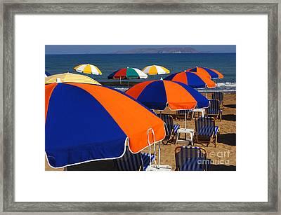 Umbrellas Of Crete Framed Print by Bob Christopher