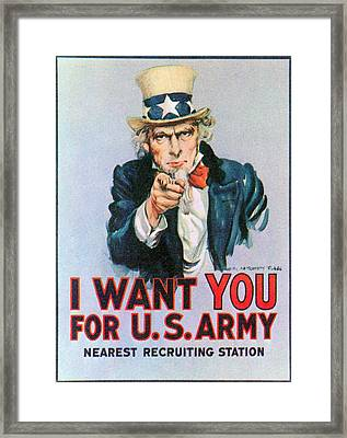 Uncle Sam I Want You Army Recruitment Framed Print by Everett