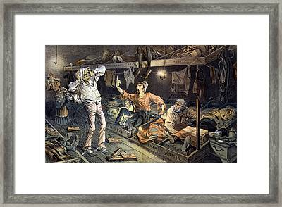 Uncle Sams Lodging-house. Print Shows Framed Print by Everett