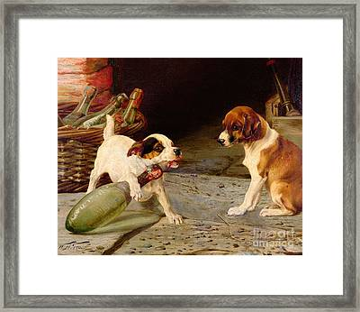 Uncorking The Bottle Framed Print by William Henry Hamilton Trood