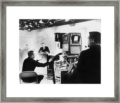 Under Hot Studio Lights, A Cbs News Framed Print by Everett