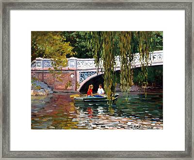 Under The Bow Bridge Central Park Framed Print by Roelof Rossouw