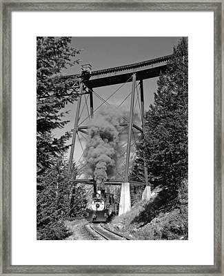 Under The Devils Gate Bridge Black And White Framed Print by Ken Smith