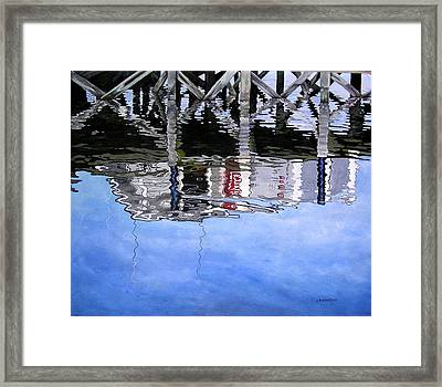 Under The Dock Framed Print by Judy Burgarella