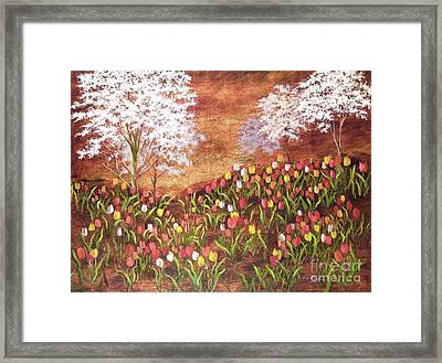 Framed Print featuring the painting Under The Dogwoods by Vic  Mastis