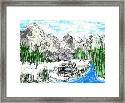 Framed Print featuring the digital art Under The Mountain by Rc Rcd