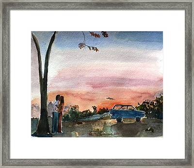 Framed Print featuring the painting Under The Setting Sun by Geeta Biswas