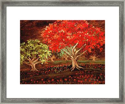 Framed Print featuring the painting Under The Trees by Vic  Mastis