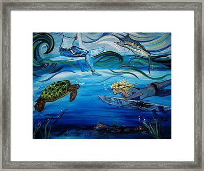Underwater Surfers Framed Print by Amanda Dinan