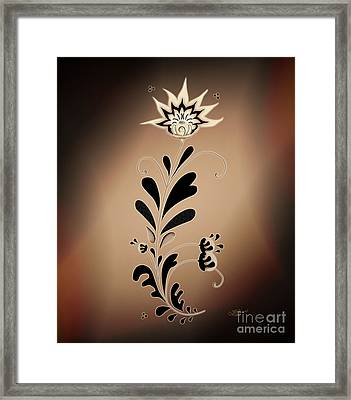 Une Fleur Tribale Beige Framed Print