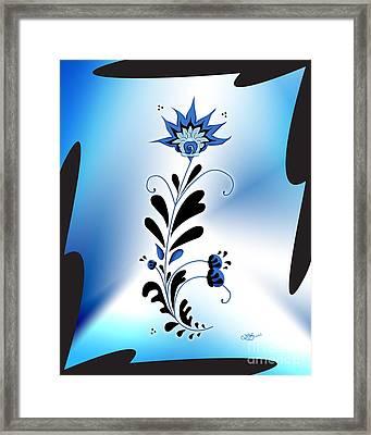 Une Fleur Tribale Bleue Encadree Framed Print