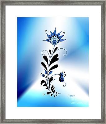 Une Fleur Tribale Bleue Framed Print