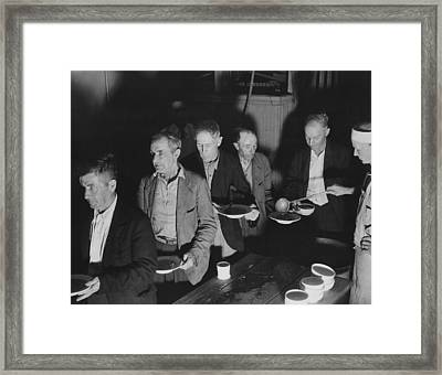 Unemployed Men At Volunteers Of America Framed Print