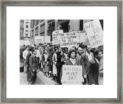 Unemployed New Yorkers Demonstrate Framed Print by Everett