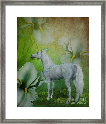 Unicorn And Lilies Framed Print by Smilin Eyes  Treasures