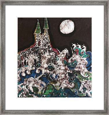 Unicorn In Sea Below Castle Framed Print by Carol Law Conklin