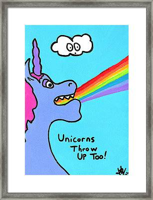 Unicorns Throw Up Too Framed Print by Jera Sky