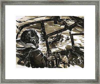Unidentified Aircraft Diving To Attack A Ship  Framed Print by English School