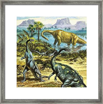 Unidentified Prehistoric Creatures Framed Print by Roger Payne