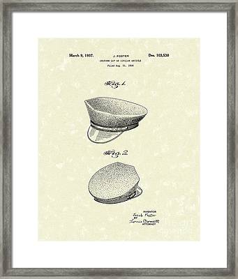 Uniform Cap 1937 Patent Art Framed Print