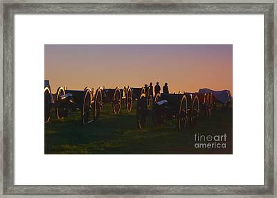 Union Cannons At Sunset Framed Print