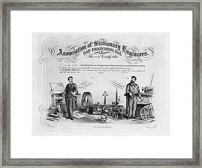 Union Membership Card, 1886 Framed Print