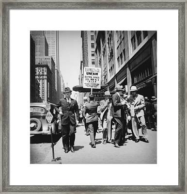 Union Men Picketing Macys Department Framed Print by Everett
