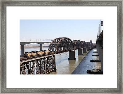 Union Pacific Locomotive Trains Riding Atop The Old Benicia-martinez Train Bridge . 5d18849 Framed Print by Wingsdomain Art and Photography