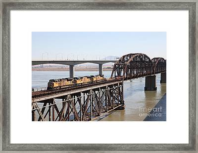 Union Pacific Locomotive Trains Riding Atop The Old Benicia-martinez Train Bridge . 5d18850 Framed Print by Wingsdomain Art and Photography