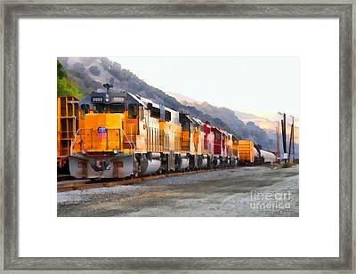 Union Pacific Locomotives Along The Hills Of Martinez California . 7d10563 Framed Print by Wingsdomain Art and Photography