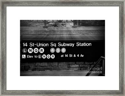 Union Square Subway Station Bw Framed Print by Susan Candelario
