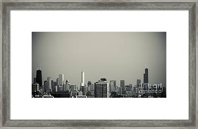 Unique Buildings In Chicago Skyline   Framed Print