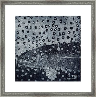 Unique Etching Artwork - Brown Trout  - Trout Waters - Trout Brook - Engraving Framed Print