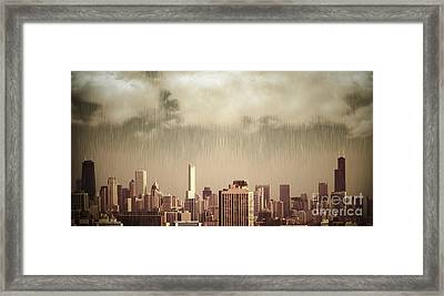 Unique View Of Buildings In Chicago Skyline In The Rain Framed Print by Linda Matlow