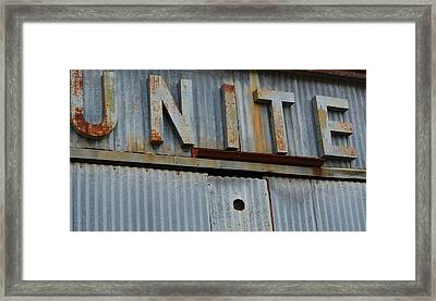 Unite Weathered Sign Framed Print by Nikki Marie Smith