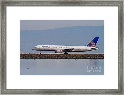 United Airlines Jet Airplane At San Francisco International Airport Sfo . 7d12129 Framed Print