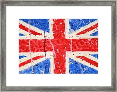 United Kingdom Flag Watercolor Painting Framed Print by Georgeta  Blanaru