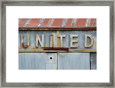 United Rusted Metal Sign Framed Print