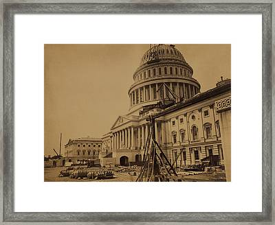 United States Capitol Building In 1863 Framed Print by Everett