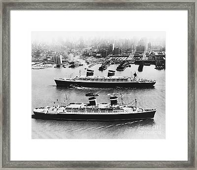 United States Lines Ships Framed Print by Photo Researchers