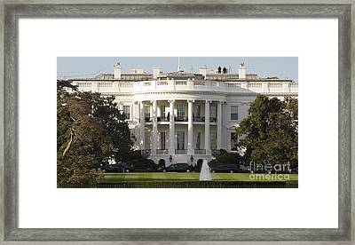 United States White House And Presidential Motorcade Framed Print by Dustin K Ryan