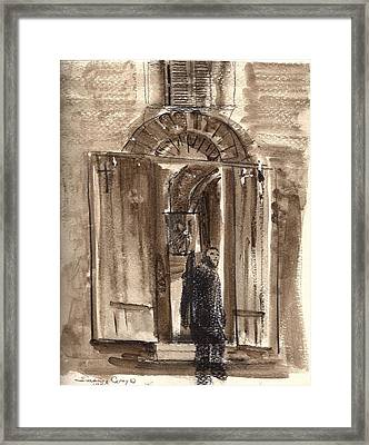 Uno Negozio In Siena Watercolor And Conte Crayon Framed Print
