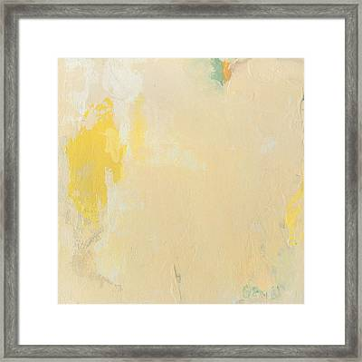 Untitled Abstract - Bisque With Yellow Framed Print