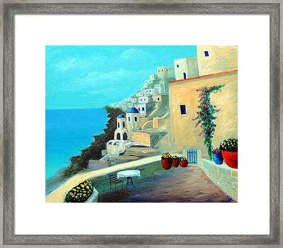 Framed Print featuring the painting Up High On The Mediterranean by Larry Cirigliano