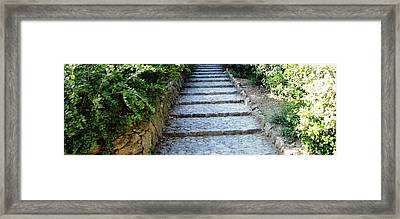 Up Hill Stairs In Parc Guell Barcelona Spain Framed Print by John Shiron