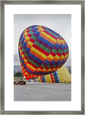 Up She Rises Hot Air Balloon Framed Print by Kantilal Patel