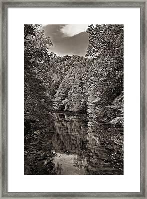Up The Lazy River Monochrome Framed Print by Steve Harrington