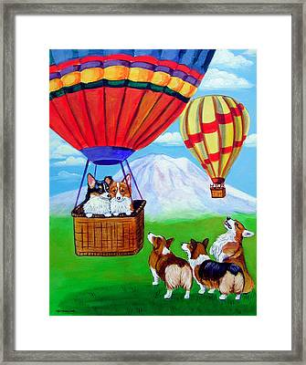 Up Up And Away - Pembroke Welsh Corgi Framed Print by Lyn Cook