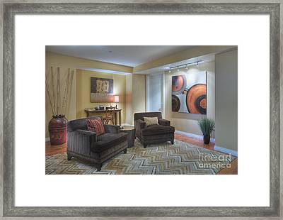 Upscale Living Room Interior Framed Print by Andersen Ross
